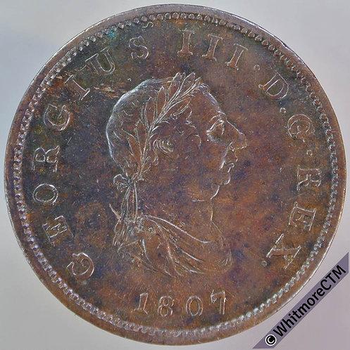 1807 British Copper Halfpenny - George III