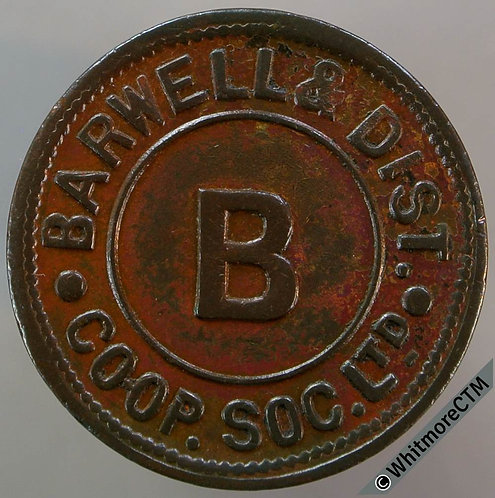 Co-Operative Society Token Barwell & District - 25mm B - both sides  Bronze