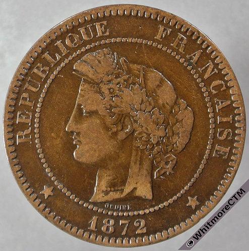 1872 France 10 Centimes obv 1872K Y44