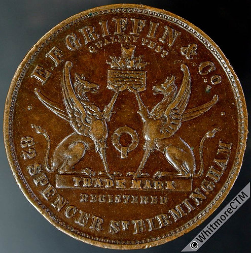 Birmingham Token 25mm E.F.Griffin & Co - Two griffons - Copper - Rare