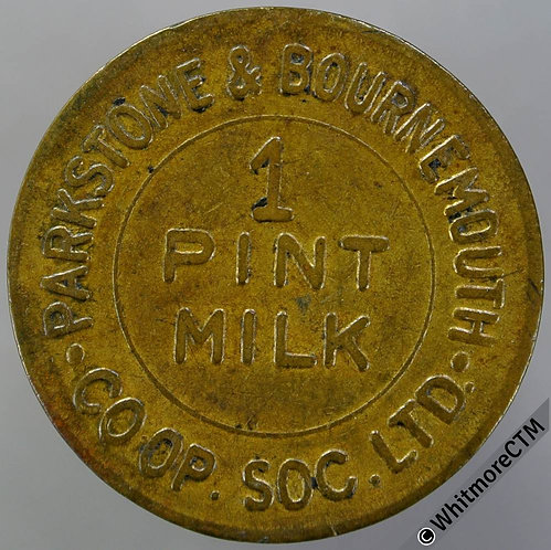 Co-Operative Society Token Parkstone & Bournemouth 26mm 1 pint milk Dairy. Brass