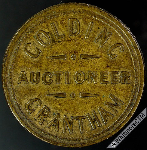 Value stated Token Grantham 26mm Golding Auctioneer / 1½D. - Brass