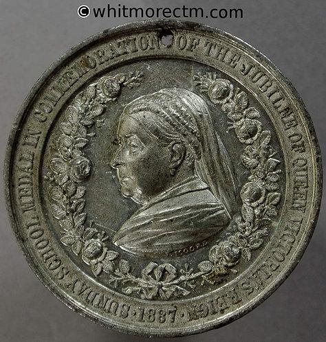 1887 Victoria Golden Jubilee Sunday School Medal 38mm B3264 Rare. White metal