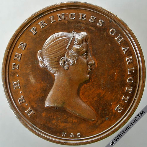 1817 Death of Princess Charlotte Medal 38mm Bronze B937 By Hancock for Kettle