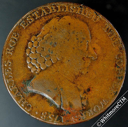 18th Century Halfpenny Macclesfield 21 1790 Charles Roe / Seated female.