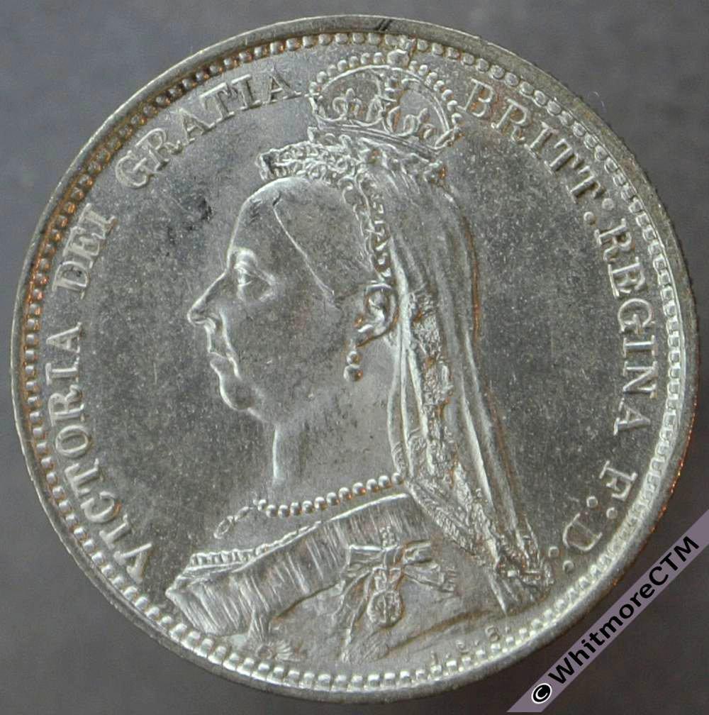 1887 Victoria Jubilee Head Sixpence Value Reverse