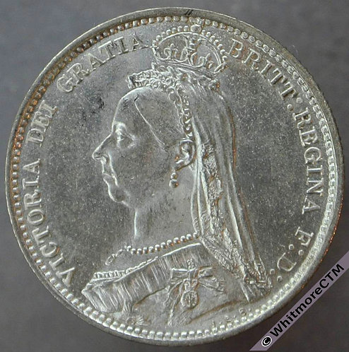1887 Victoria Jubilee Head Sixpence Value Reverse