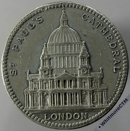 St.Paul's Cathedral Medal obv 32mm BHM2378 Founded 1675 Finished 1710. White metal