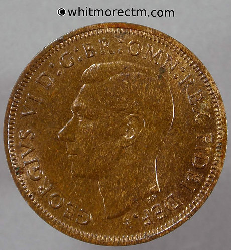 1950 British Bronze Halfpenny George VI 60% Luster