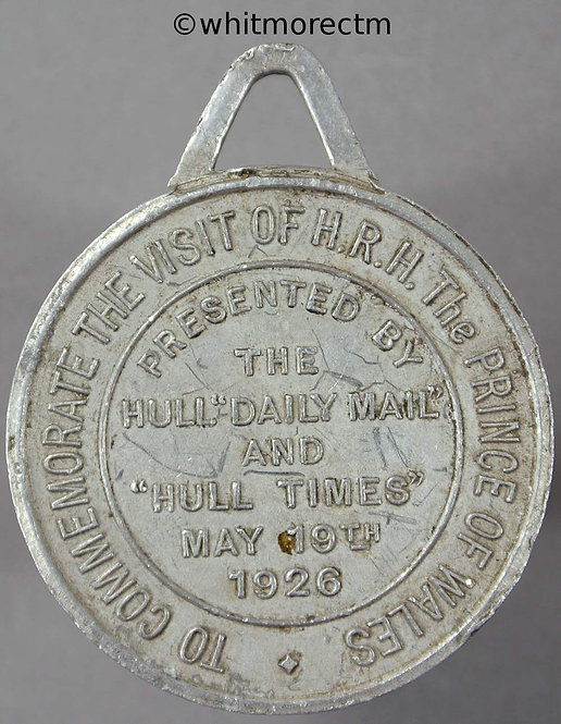 Hull 1926 Visit of Prince of Wales, Medal 32mm Presented by the Hull Daily Mail