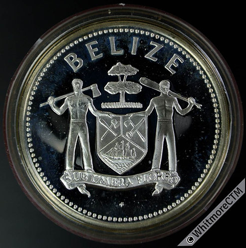 1980 Belize 25 Dollars. KM61 10th Anniv. of Development Bank - Silver proof