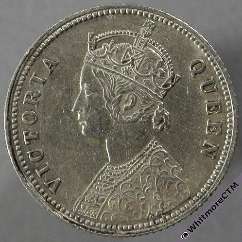 1862C British India Quarter Rupee obv - Y2a LD  S&W 4.130
