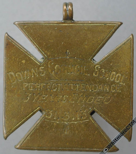 Downs (Cornwall?) 1913 County School Attendance Medal 26mm Not in Dry, Bronze
