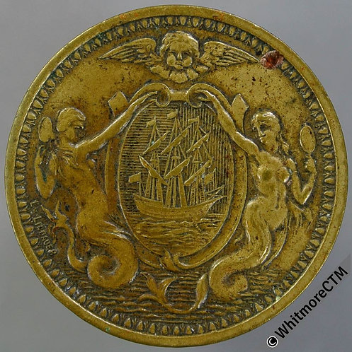 France Token Dieppe 25mm Casino / Arms with mermaids. Brass