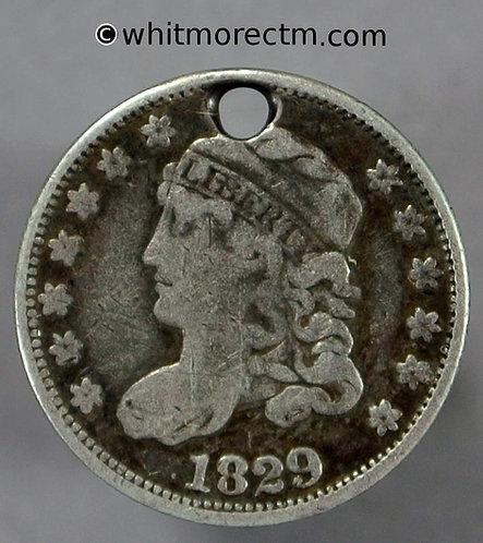 1829 USA 5 Cent coin Liberty Cap Half Dime - Pierced