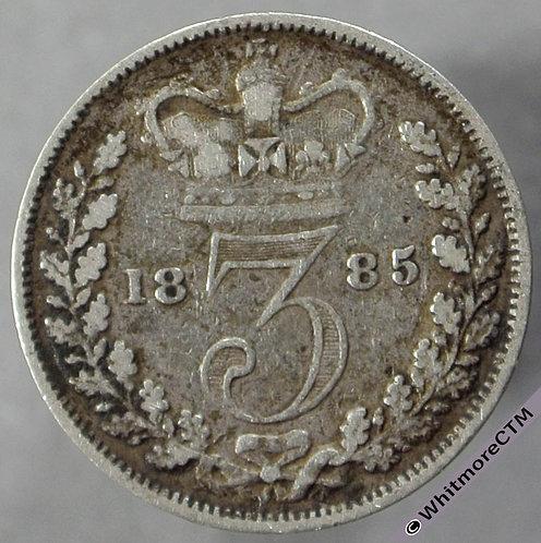 1885 British silver Threepence - Victoria