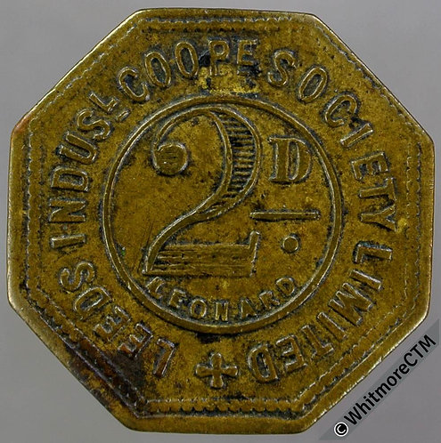 Co-Operative Society Token Leeds Industrial. 23mm 2d (both sides). Octagonal