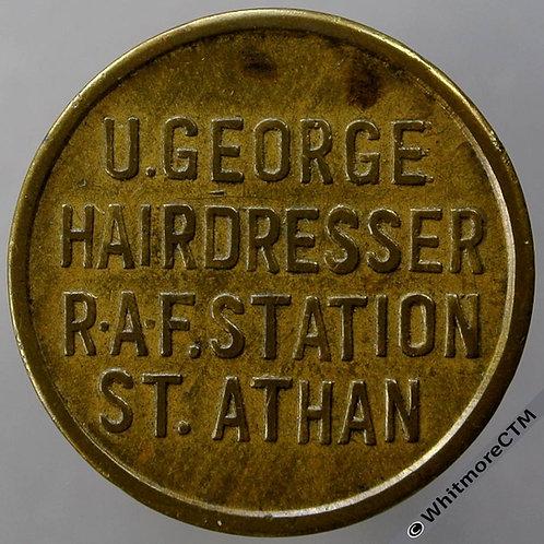 Armed Forces Token RAF St Athan U. George. Hairdresser. RAF Station.26mm Brass