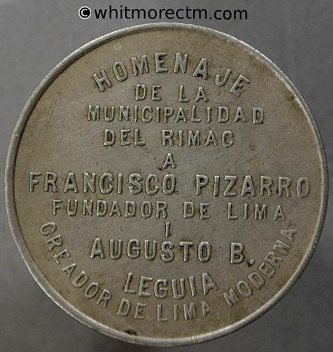 1930 Peru Lima Opening of Avenida Francisco Pizarro Medal 30mm Cupro Nickel
