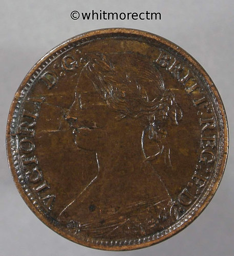 1866 British Bronze Farthing Victoria - Obv Die Breaks
