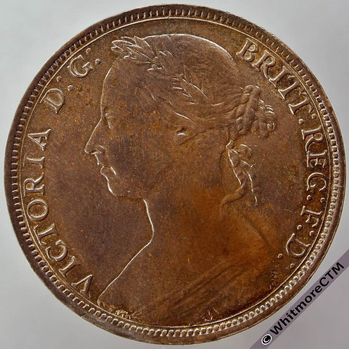 1890 British Bronze Penny Victoria Bun Head