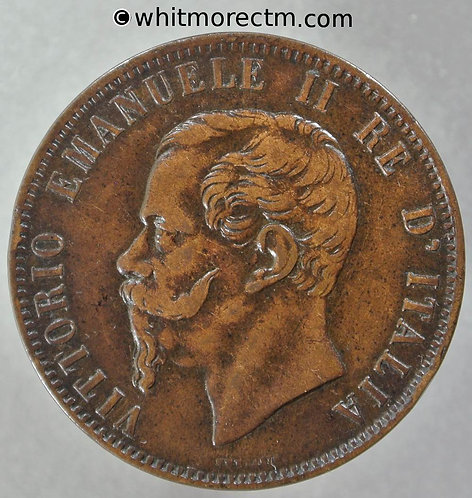 1866OM Italy 10 Centesimi coin obv Y9