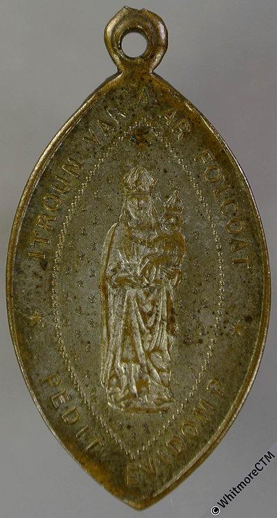 France Brittany 1888 Medal 20x35mm Madonna Child legend in Breton Silvered Brass