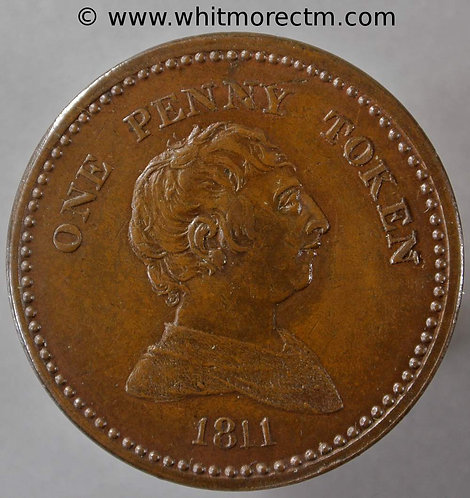 19th Century Penny Bristol 418 1811 George III / Arms of City - obv