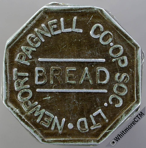 Co-Operative Society Token Newport Pagnell 24mm Bread. Uniface. Octagonal alum