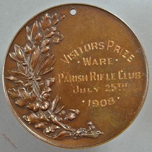 Ware 1908 Parish Rifle Club Visitors Prize Medal 51mm By Elkington. Bronze