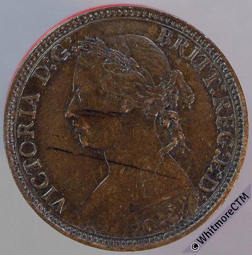 1875H British Bronze Farthing Victoria Young Head - Heaton Mint