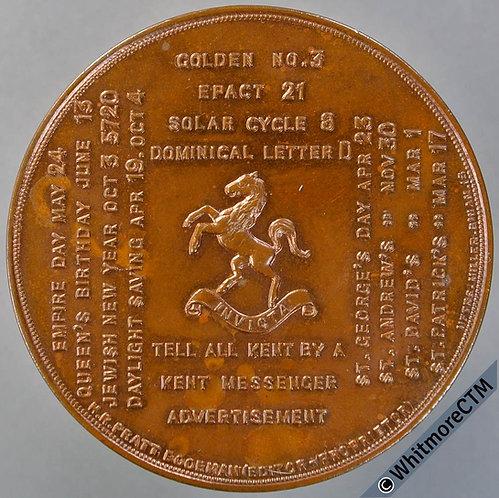 1959 Kent Messenger Centenary Calendar Medal 52mm Kent Horse etc. Bronze