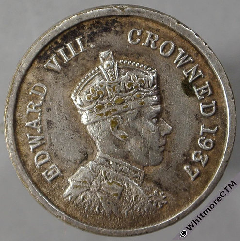 1937 Intended Coronation of Edward VIII Medal obv 20mm 290b Silvered brass with pin