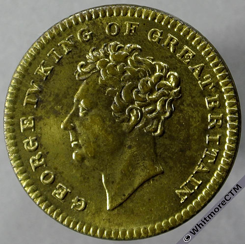 1830 Death of George IV Medallion obv 24mm as B1401 but rev exergue blank