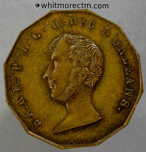 1842 France Accidental Death of Duc D'Orleans Medal 25mm - dodecagon brass