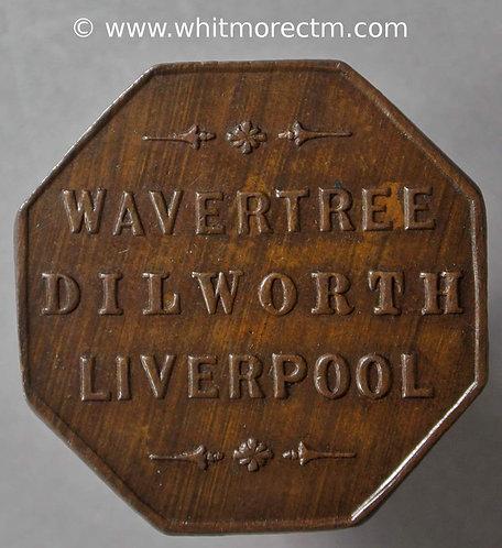 Transport Token Liverpool 24mm Wavertree Dilworth Liverpool. Octagonal bronze