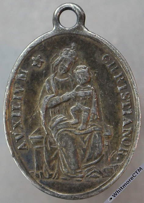 Pope Pius IX Medal 15x18mm Madonna & child. By F.S. Oval silver