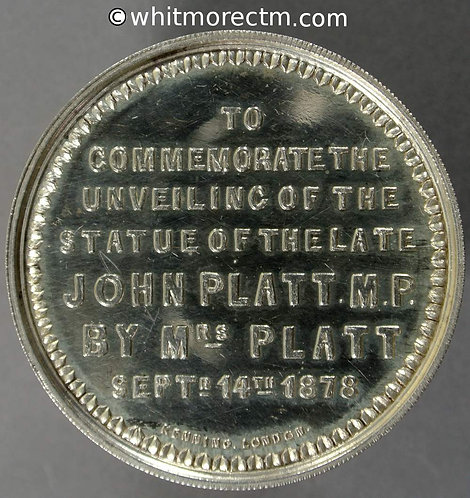 Oldham 1878 Unveiling John Platt MP Statue Medal 44mm, not in Brown - Silver