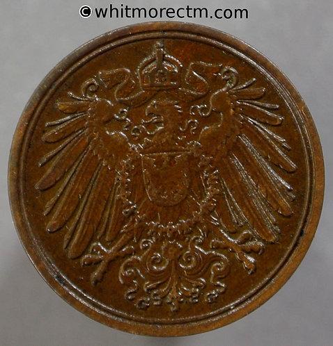 1900 Germany 1 Pfennig coin 1900G  Y3 obv