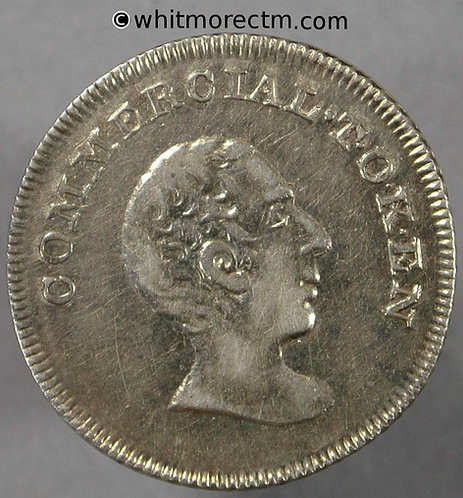 19th Century Silver Sixpence Folkestone (Non local 14) Commercial Token - obv