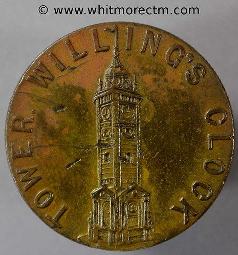 1887 Imitation Guinea / Card Counter Brighton N9340 Willings Clock Tower un pierced