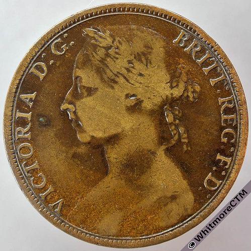 1891 British Bronze Penny - Victoria Bun Head
