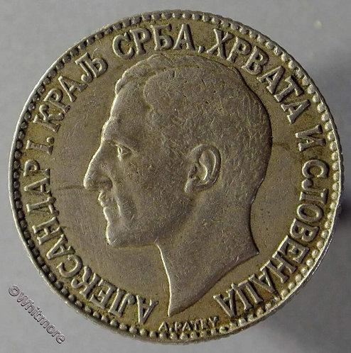 1925P Yugoslavia Y6 2 Dinara coin