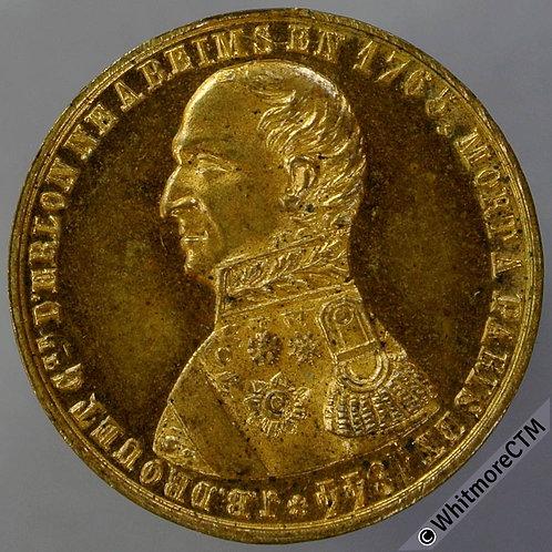 1844 France J.B.Drouet Statue at Reims Medal 23mm Gilt bronze