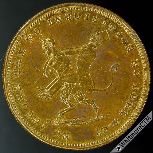 1842 Revival of Income Tax Medal 23mm B2060 Devil carrying Sir Robert Peel