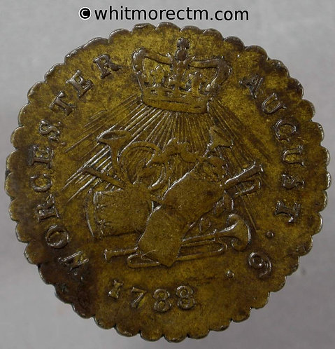 18th Century Halfpenny Worcester 37 1788 August 6 George III Scalloped edge