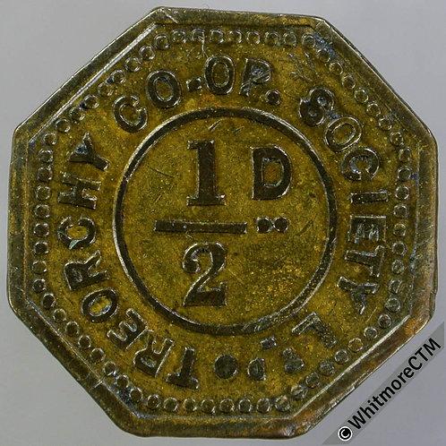 Co-Operative token Treorchy 22mm XC218 ½D Uniface octagonal brass