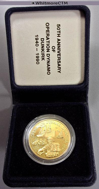 1990 50th Anniversary of Dunkirk Evacuation Medal 39mm Gilt bronze. Cased