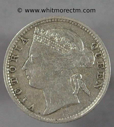 1889 Straits Settlements Y14 10 Cents coin
