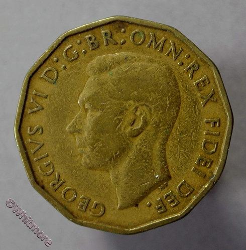 1949 British Threepence Brass George VI